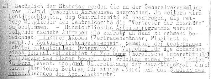 Protokoll der Sitzung des Schweizerischen Katholischen Pressevereins vom 7. Juli 1917