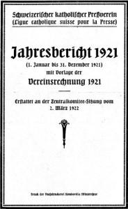 Jahresbericht 1921 des Schweizerischen Katholischen Pressevereins
